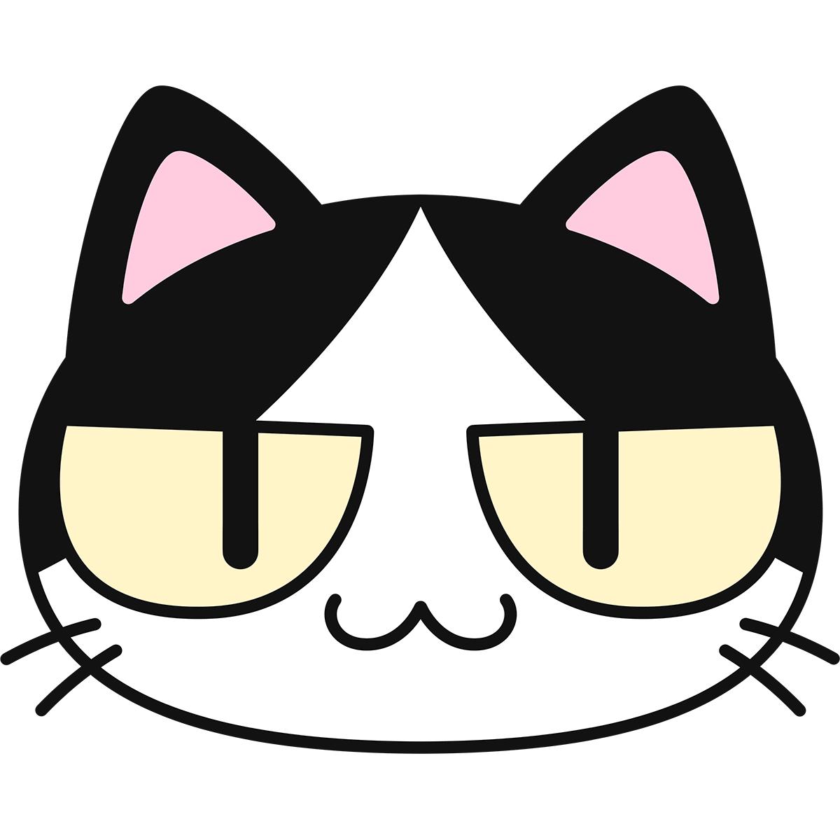 白黒猫の顔(猫目)の無料イラスト