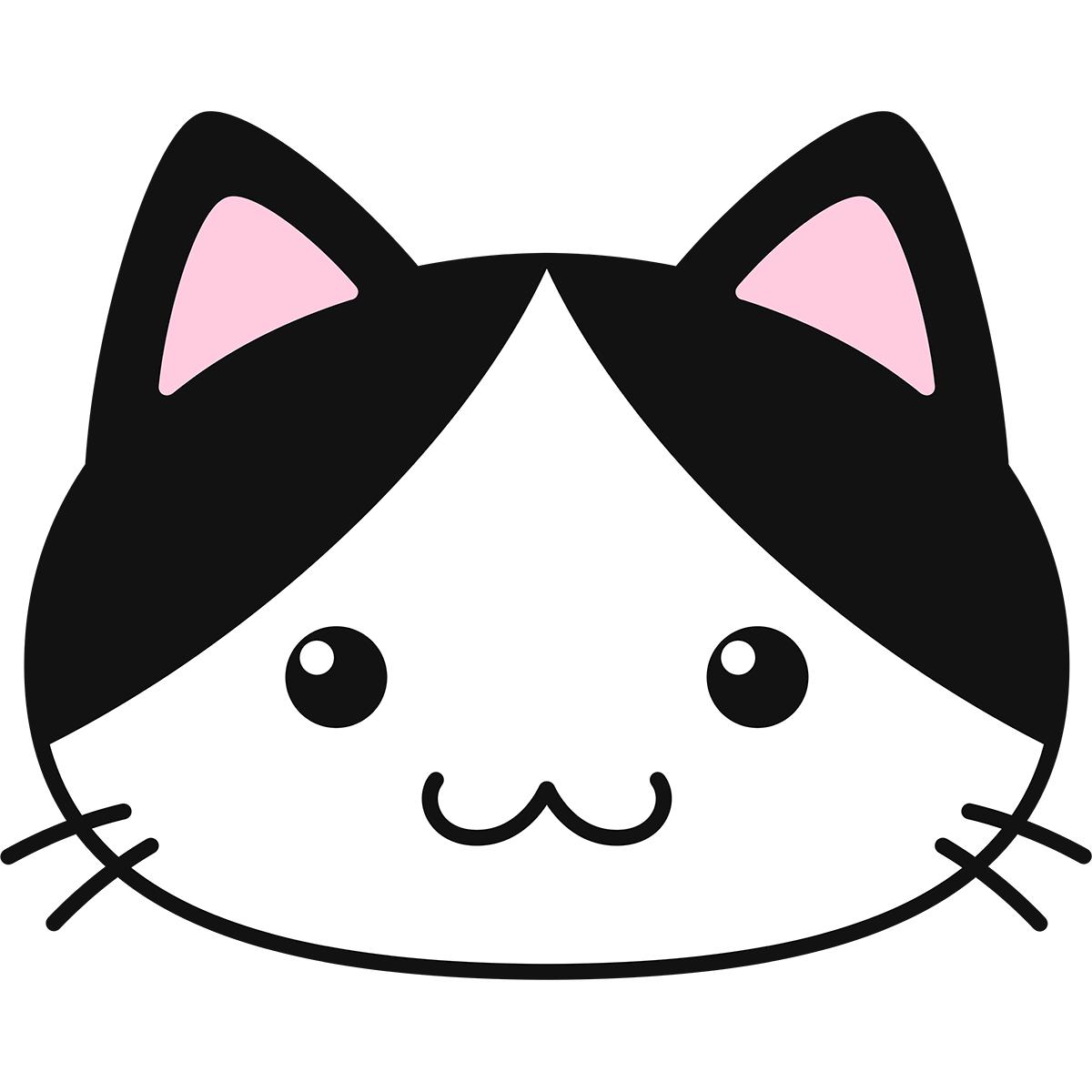 白黒猫の顔(丸目)の無料イラスト
