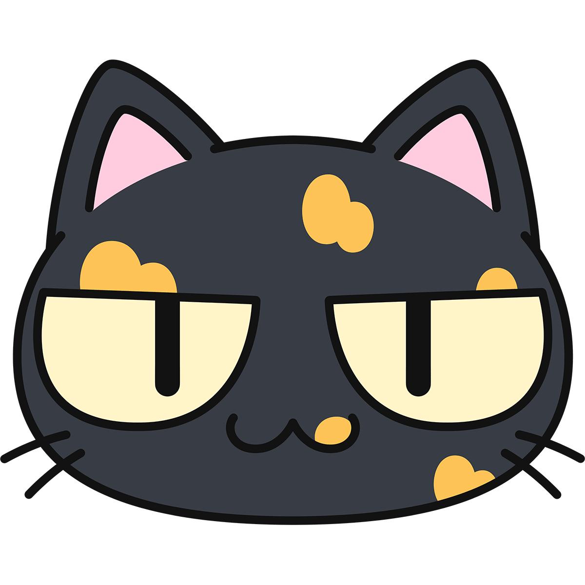 サビ猫の顔(猫目)の無料イラスト