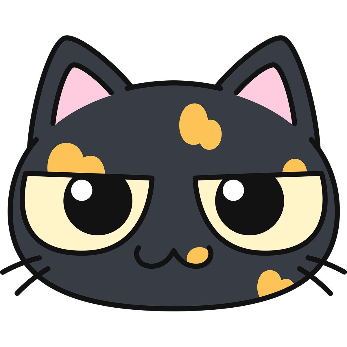 サビ猫の顔の無料イラスト