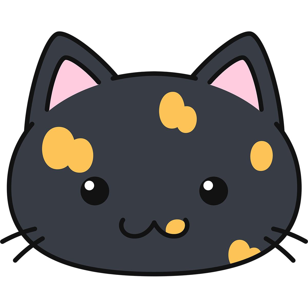 サビ猫の顔(丸目)の無料イラスト