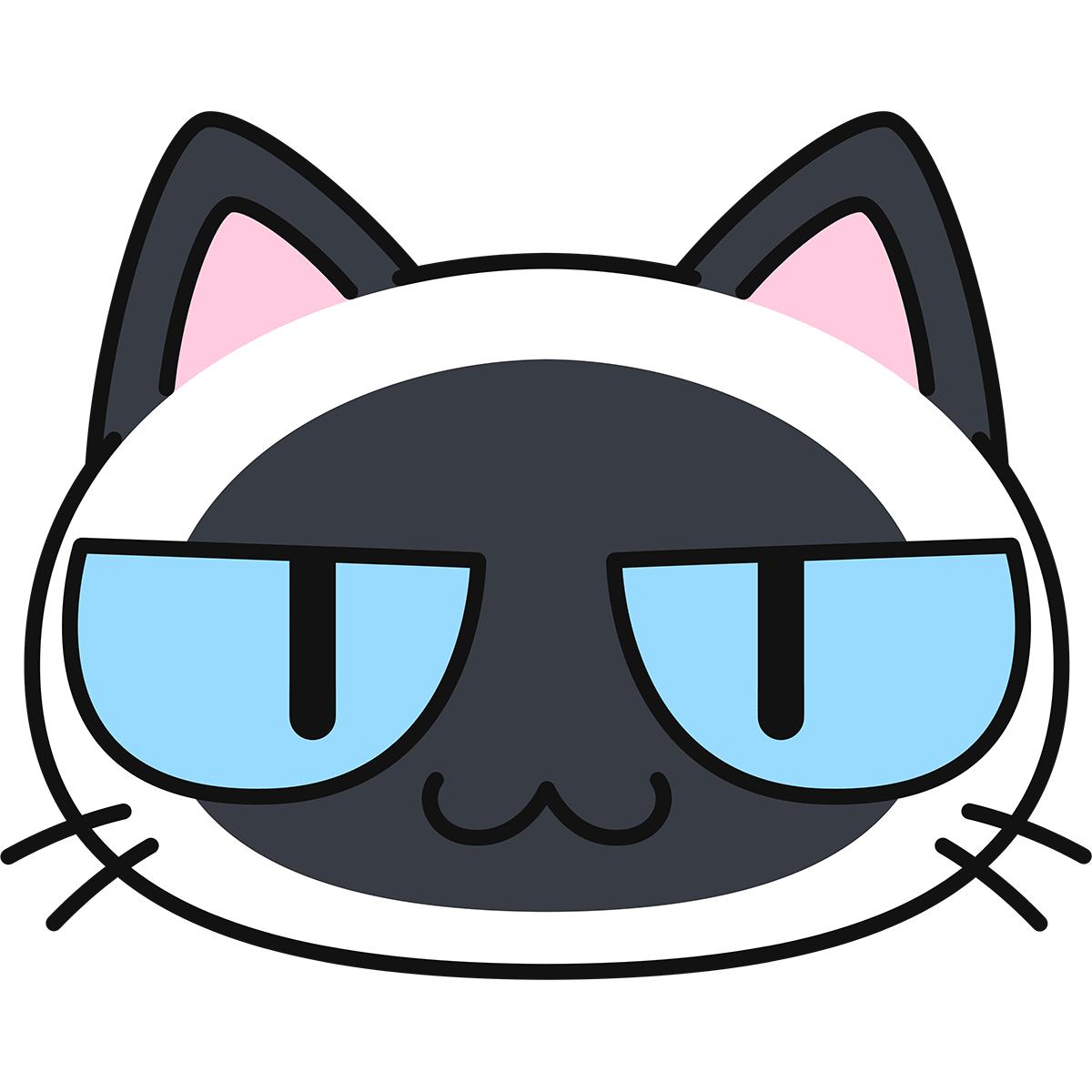 シャム柄猫の顔(猫目)の無料イラスト