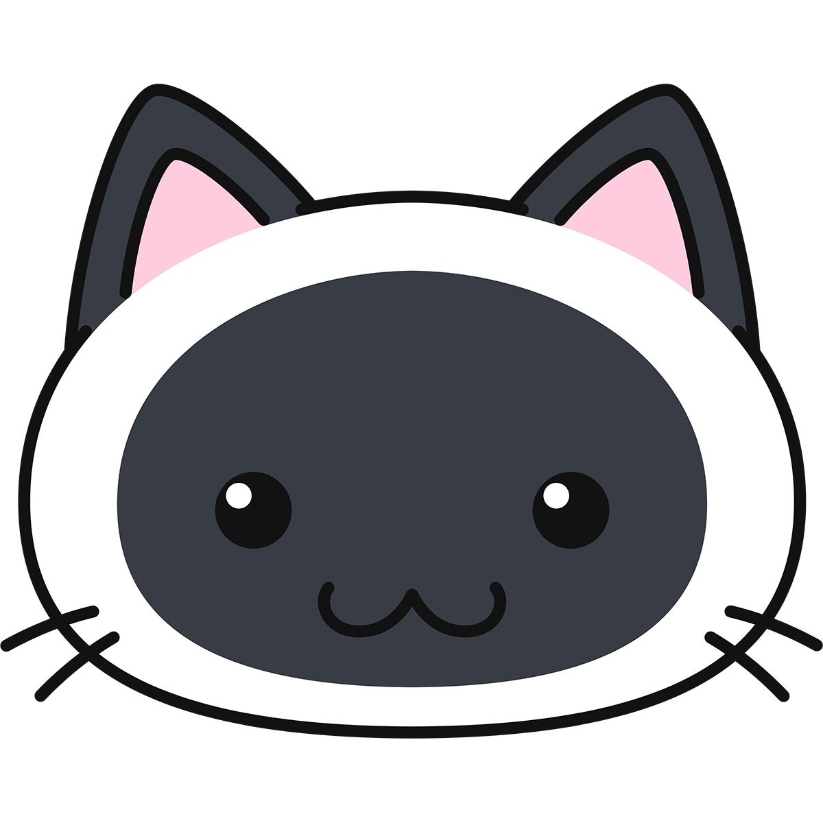 シャム柄猫の顔(丸目)の無料イラスト