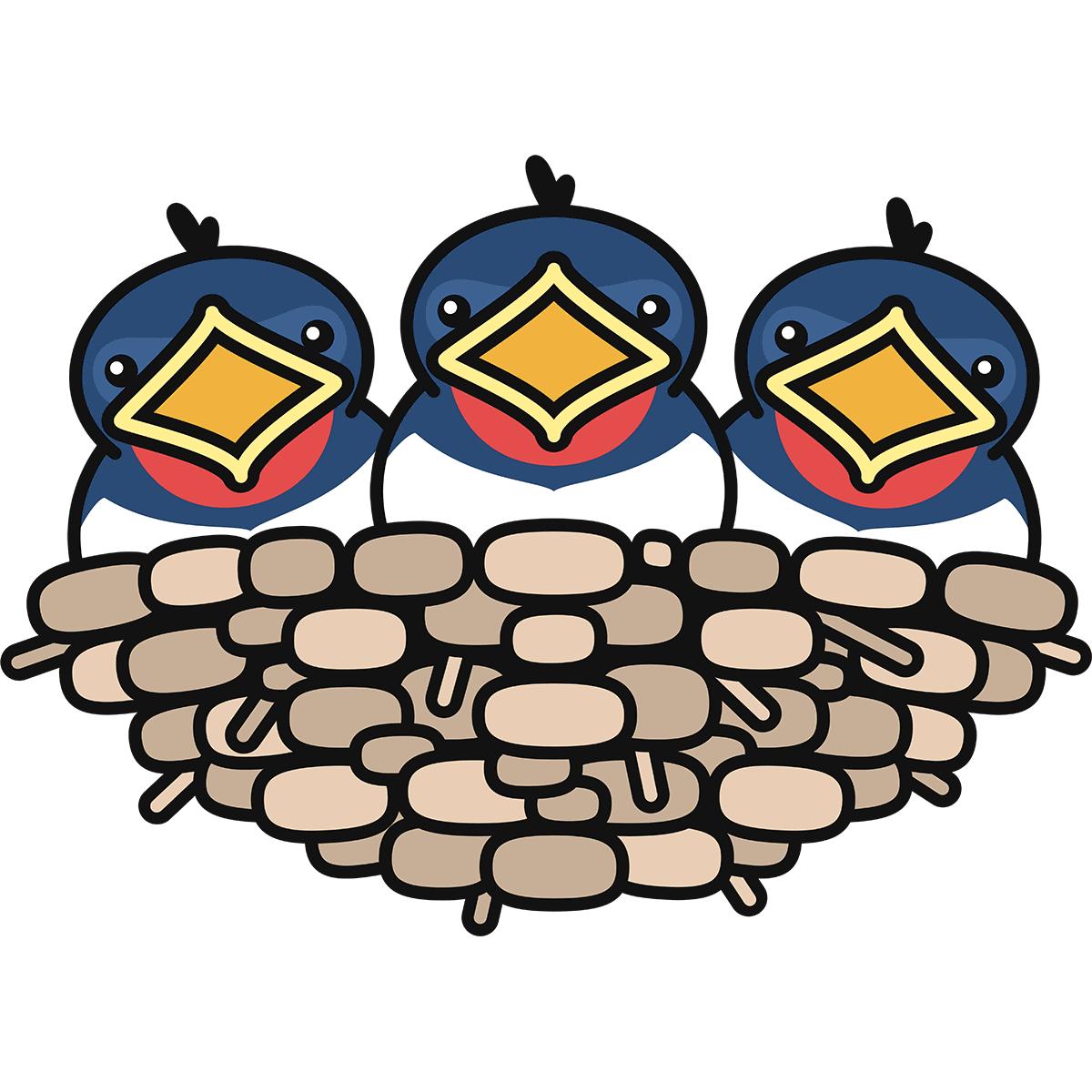 ツバメのヒナの無料イラスト