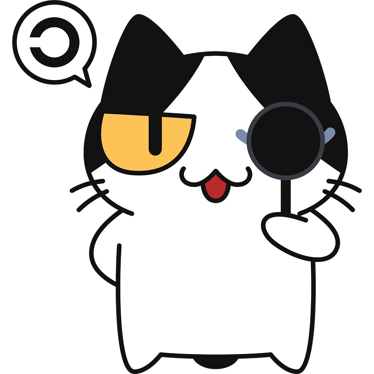 視力検査をする猫の無料イラスト