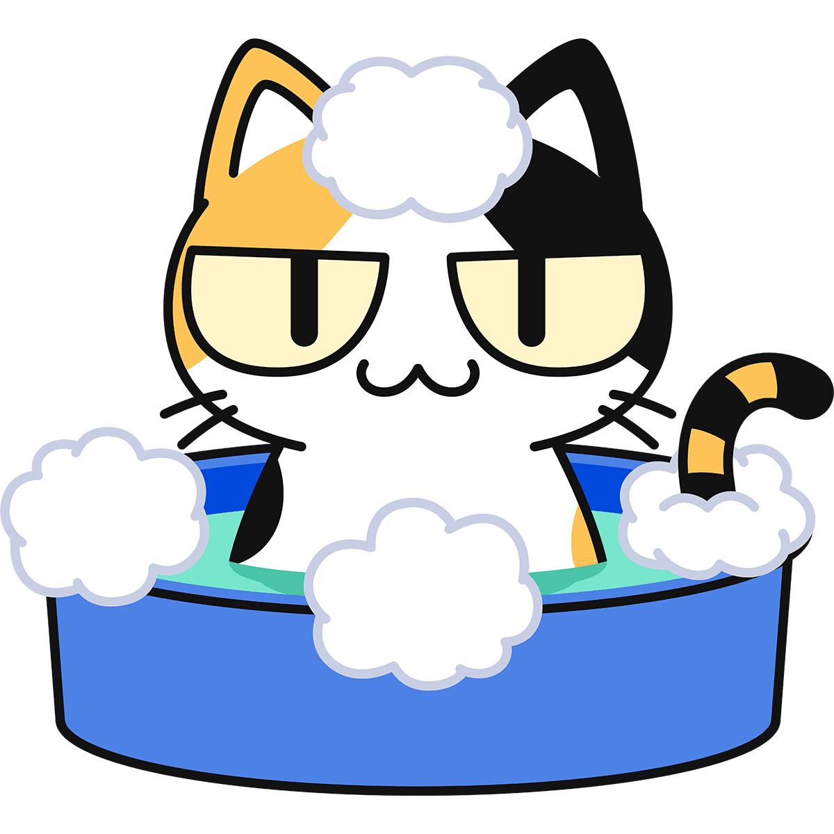 シャンプーする三毛猫の無料イラスト