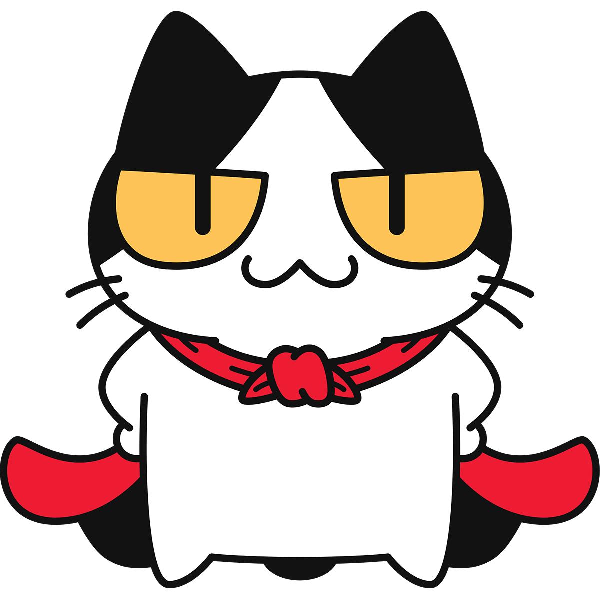 マントをする猫の無料イラスト