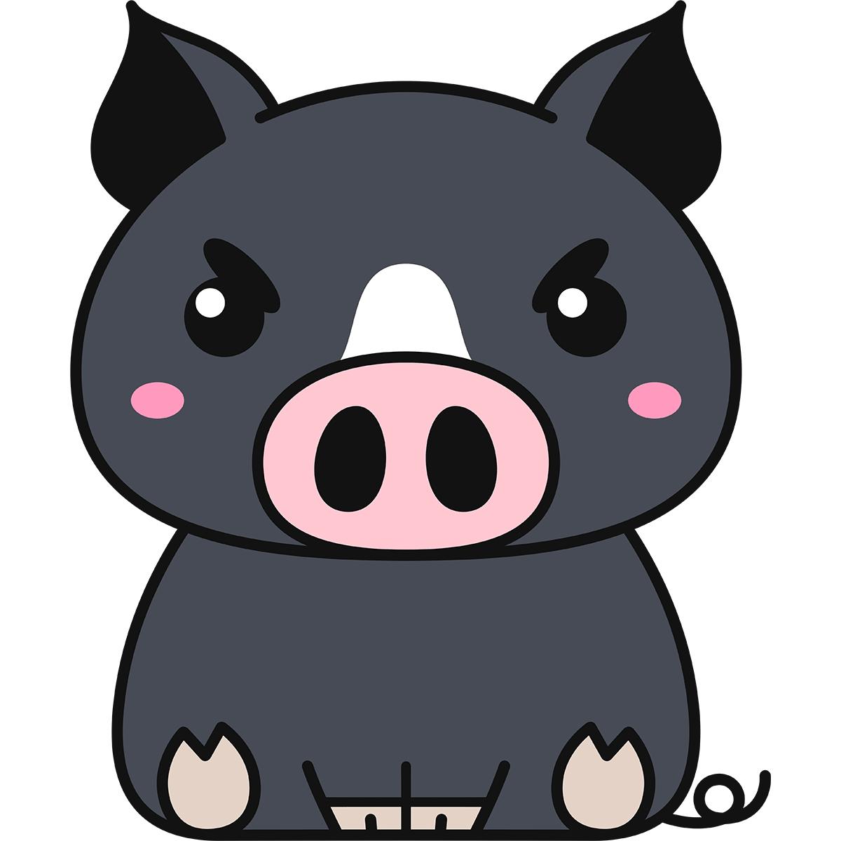 座る黒豚の無料イラスト