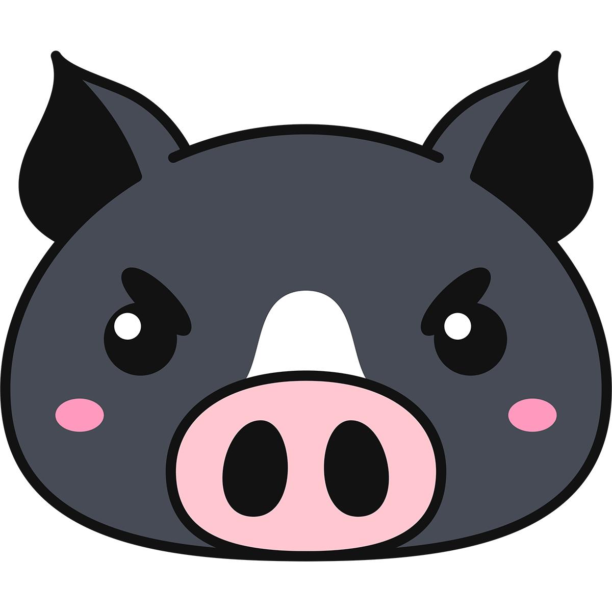 黒豚の顔の無料イラスト