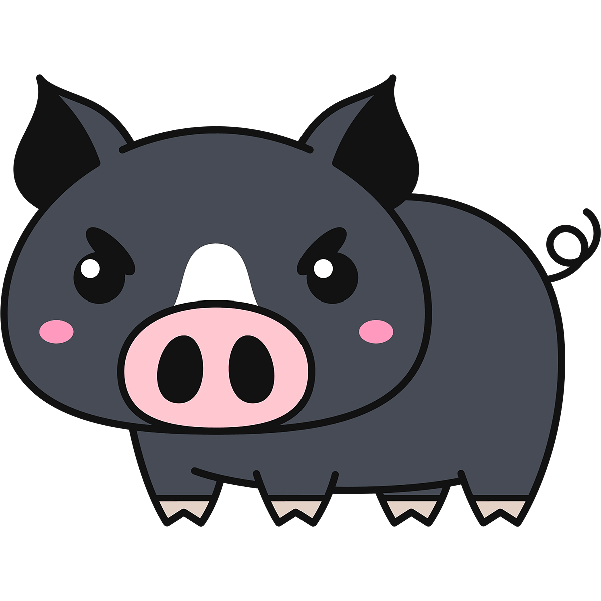 黒豚の無料イラスト