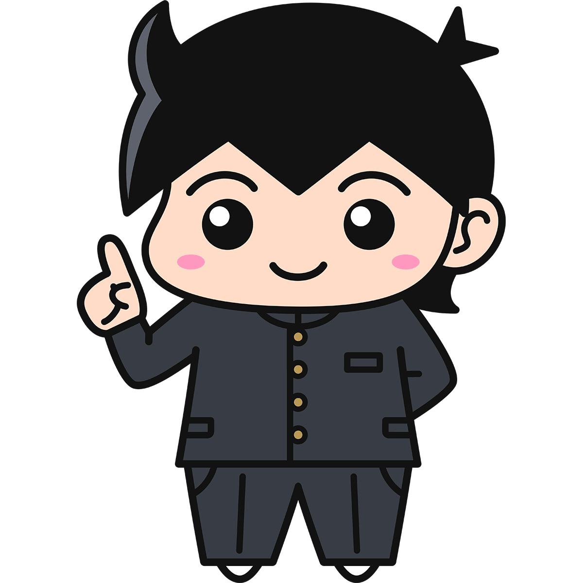 男子学生(説明/冬服)の無料イラスト