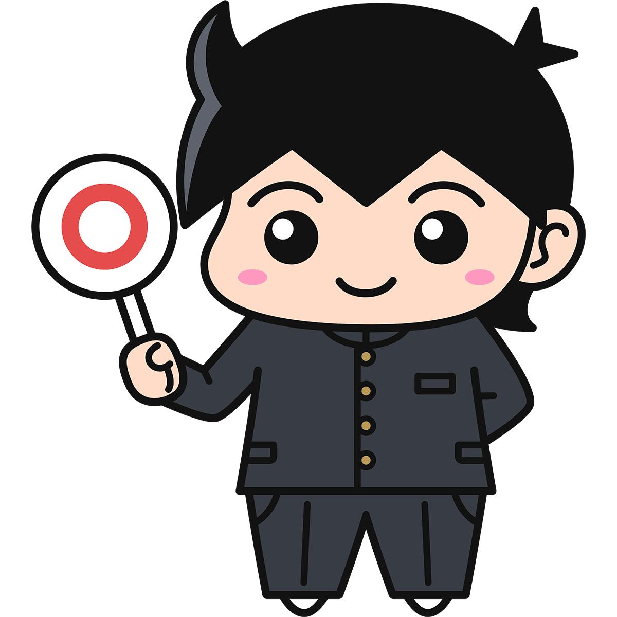 男子学生(正解/冬服)の無料イラスト
