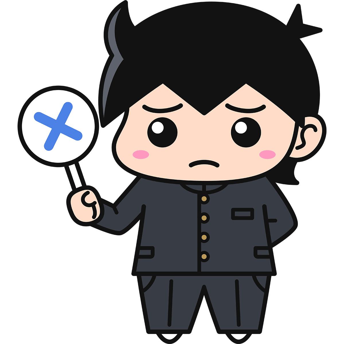 男子学生(不正解/冬服)の無料イラスト