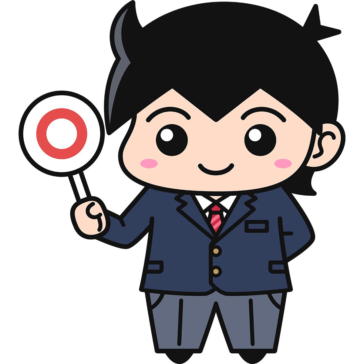 男子学生(正解/ブレザー)の無料イラスト