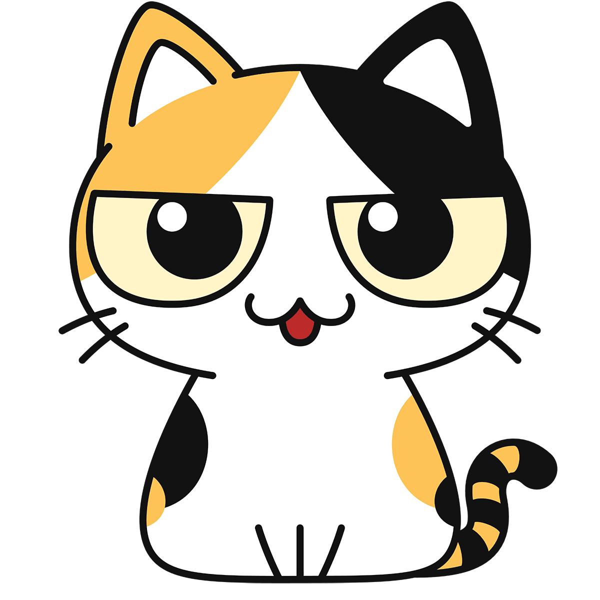 三毛猫(話す)の無料イラスト