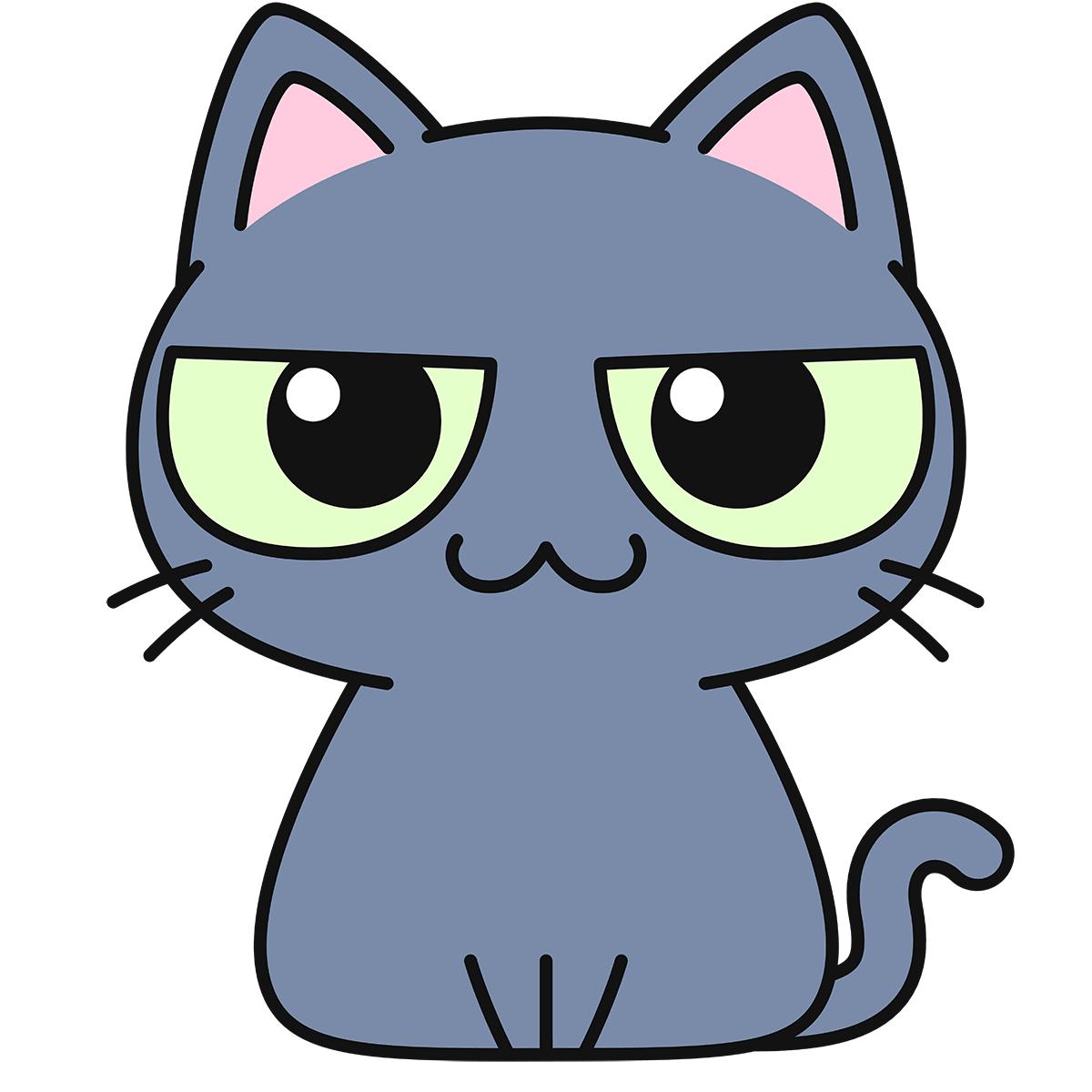 グレー猫の無料イラスト