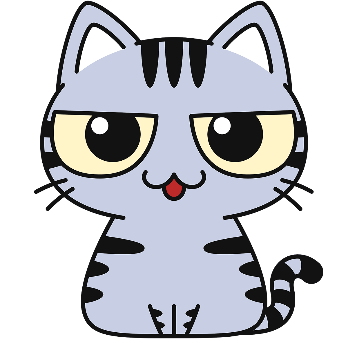 サバトラ猫(話す)の無料イラスト