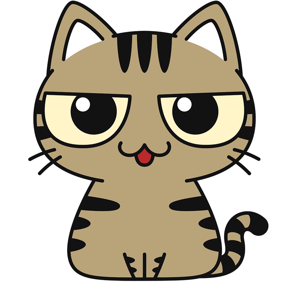 キジトラ猫(話す)の無料イラスト
