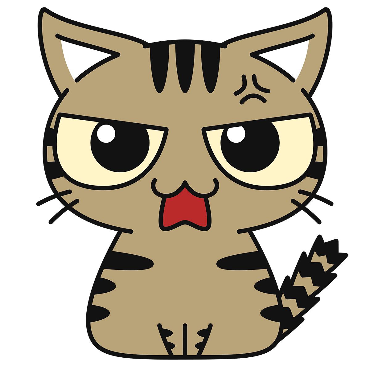 キジトラ猫(怒る)の無料イラスト