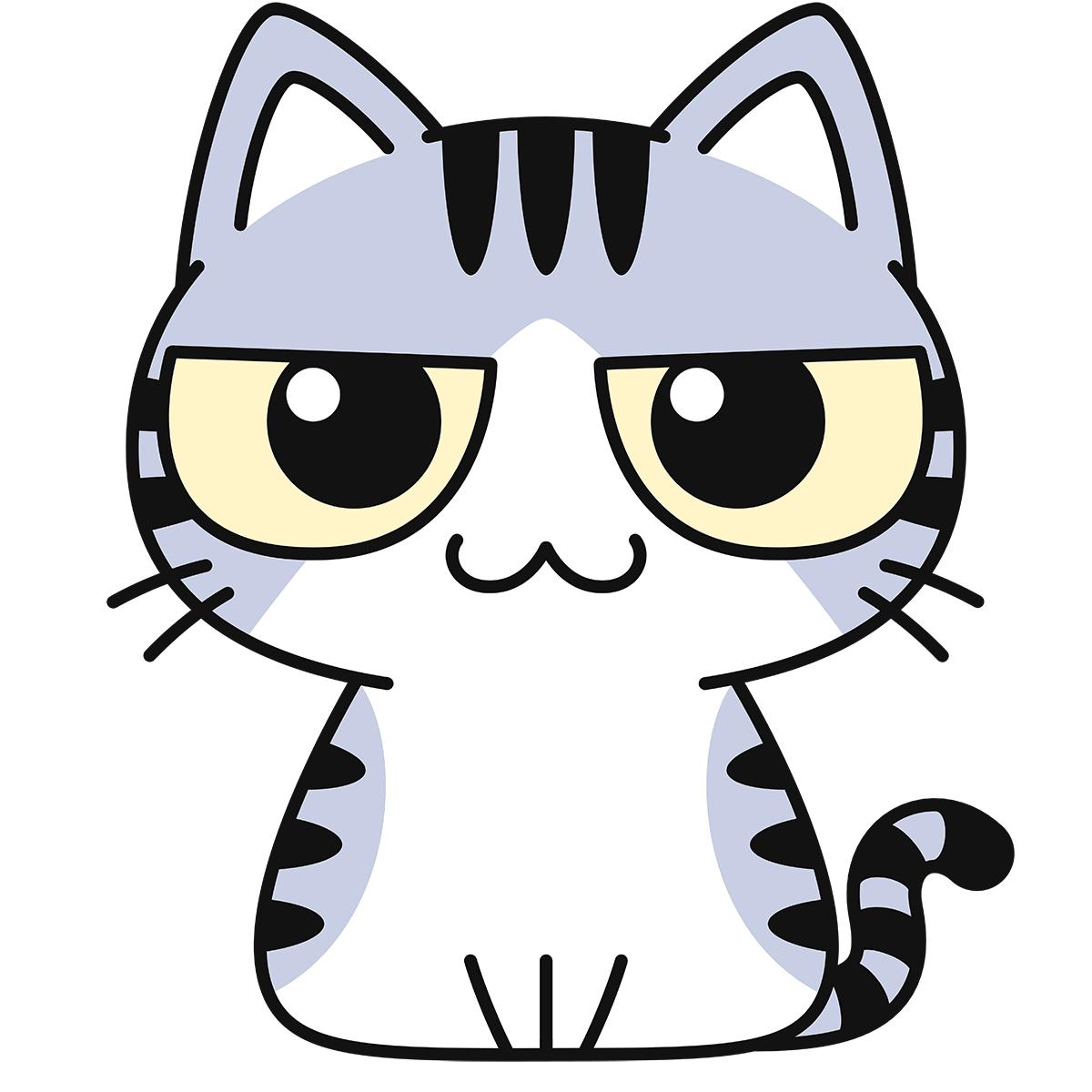 サバ白猫の無料イラスト