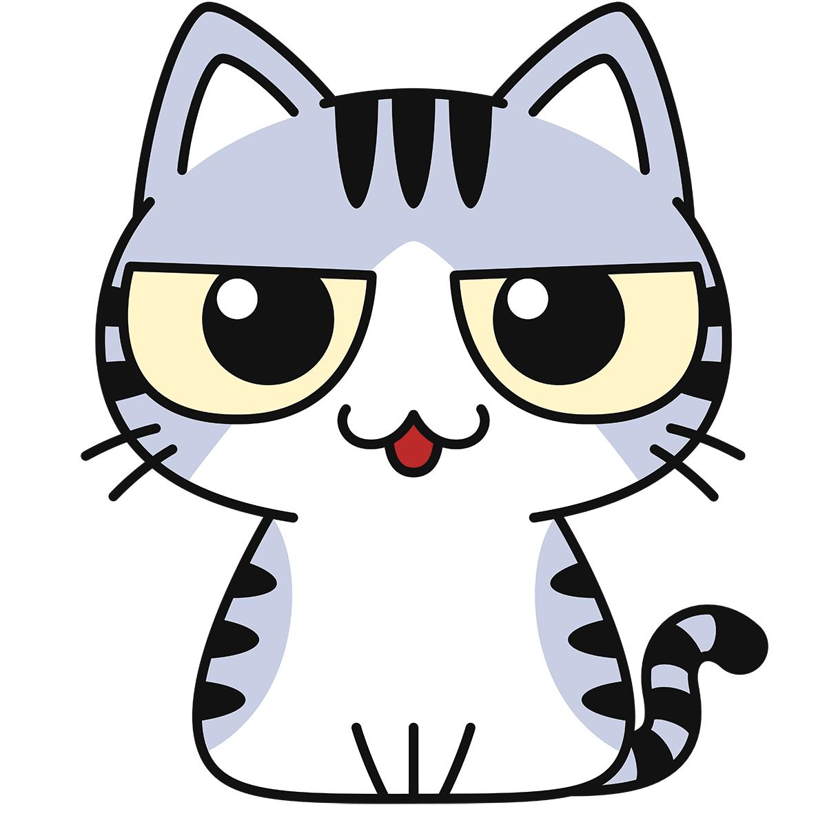 サバ白猫(話す)の無料イラスト
