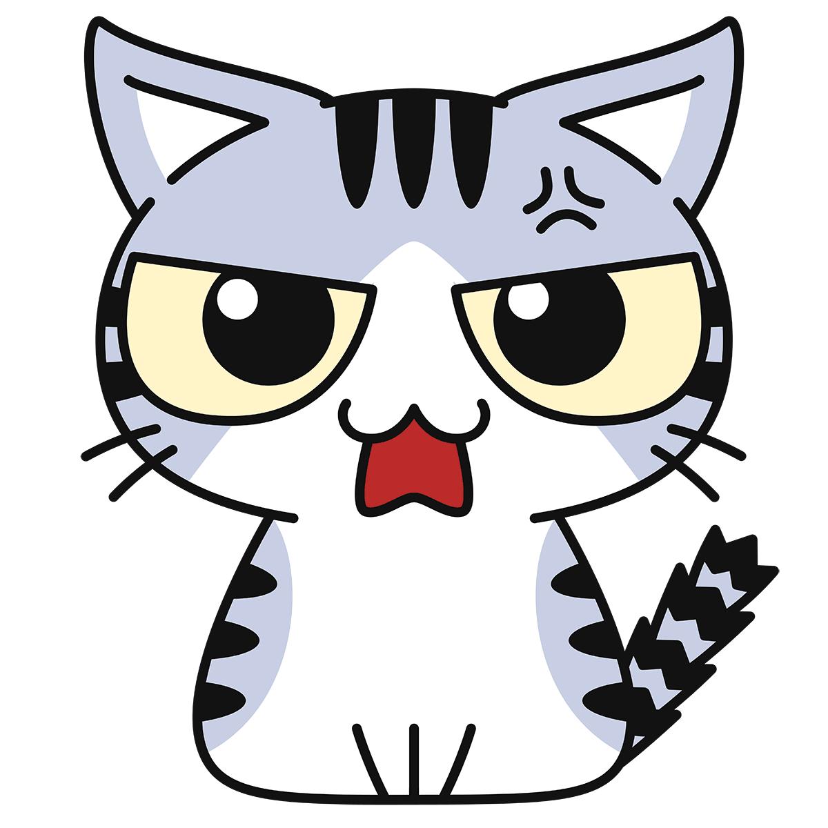 サバ白猫(怒る)の無料イラスト