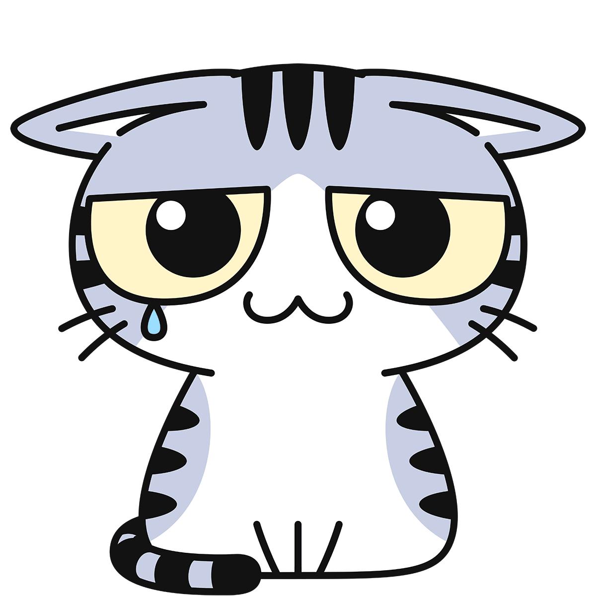 サバ白猫(怯える)の無料イラスト