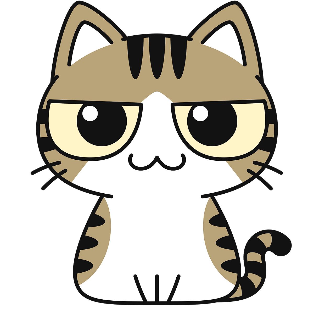 キジ白猫の無料イラスト