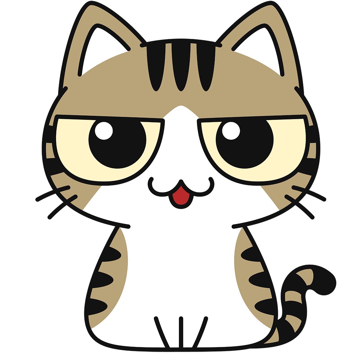 キジ白猫(話す)の無料イラスト