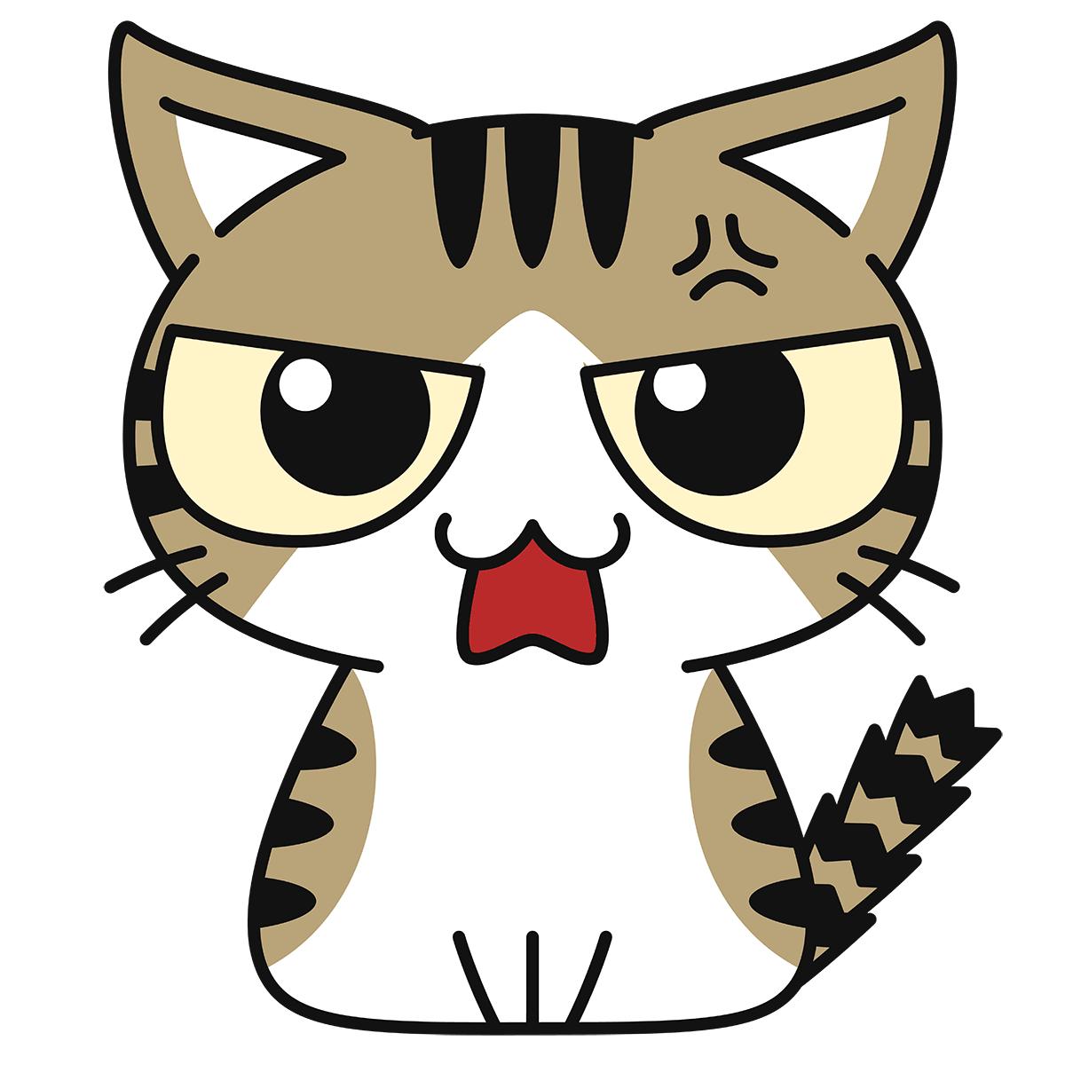 キジ白猫(怒る)の無料イラスト
