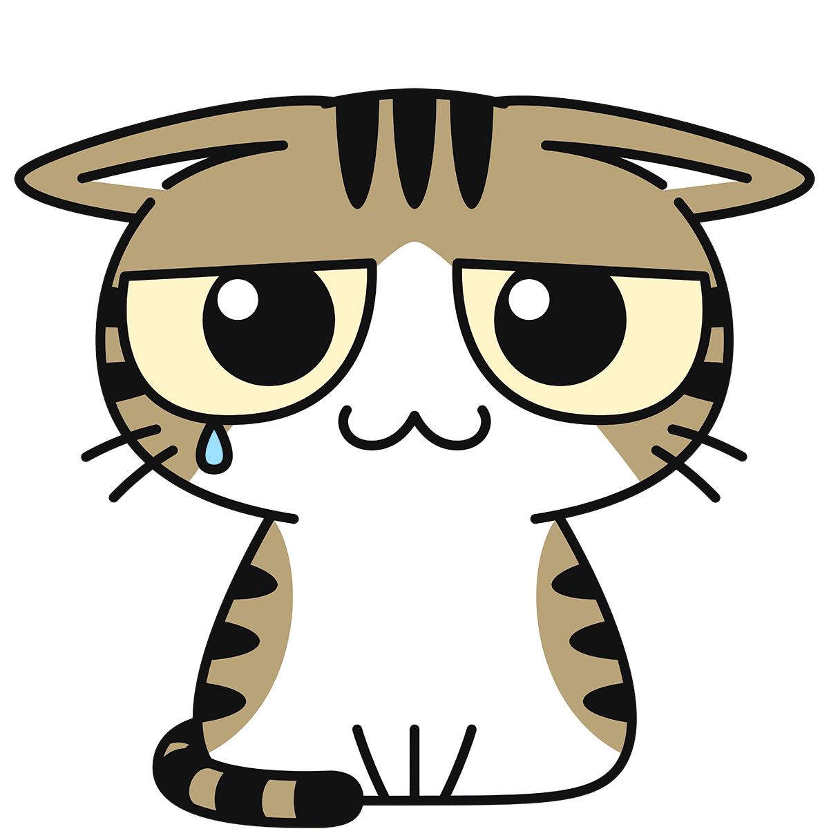 キジ白猫(怯える)の無料イラスト