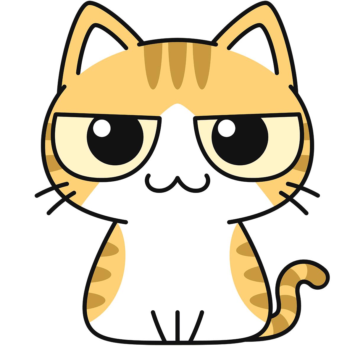 茶白猫の無料イラスト