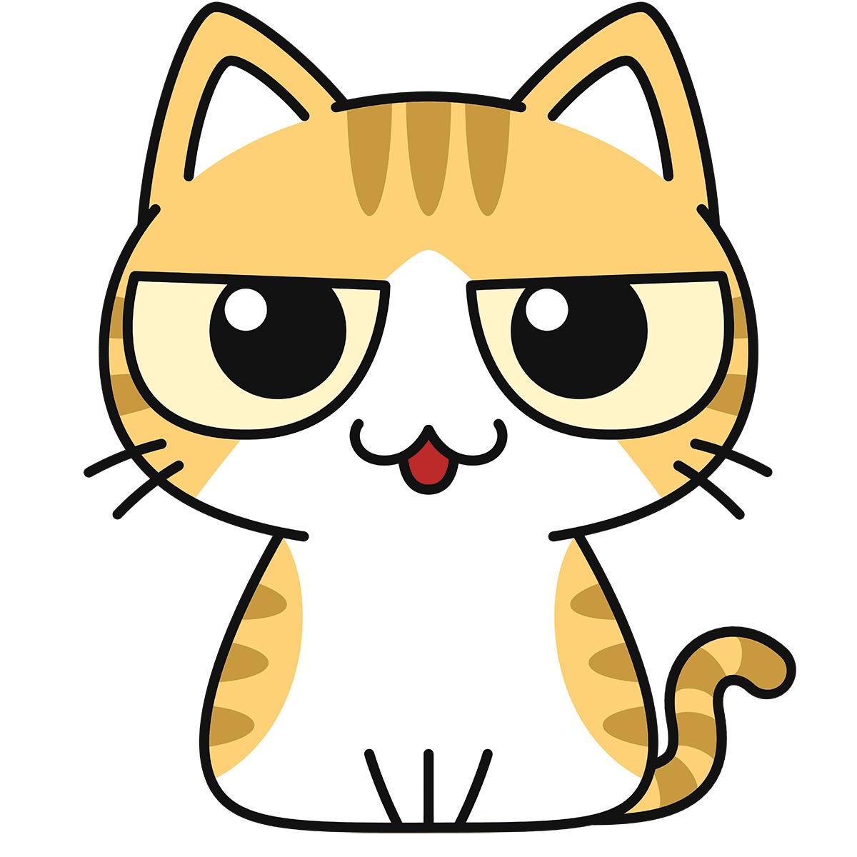 茶白猫(話す)の無料イラスト