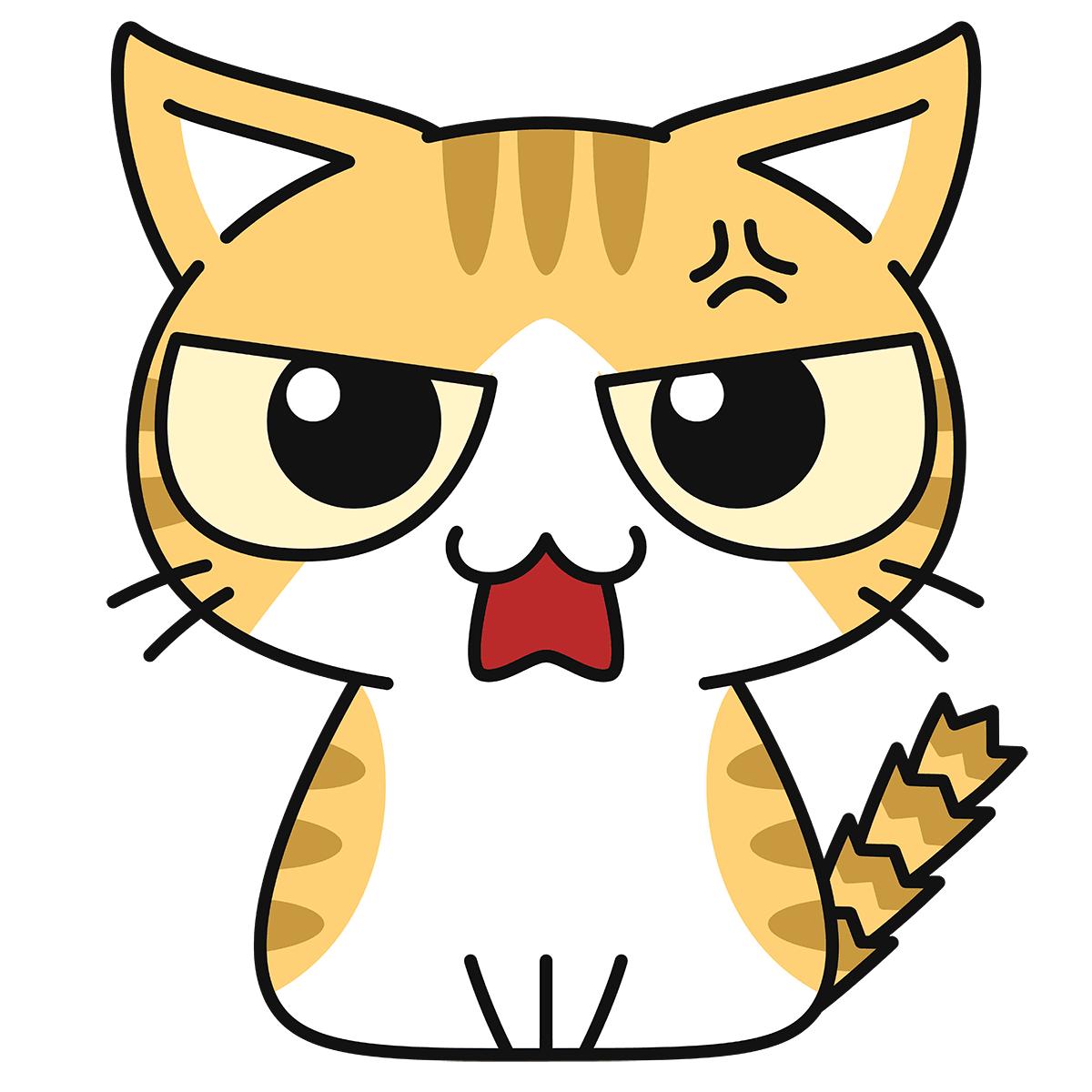 茶白猫(怒る)の無料イラスト
