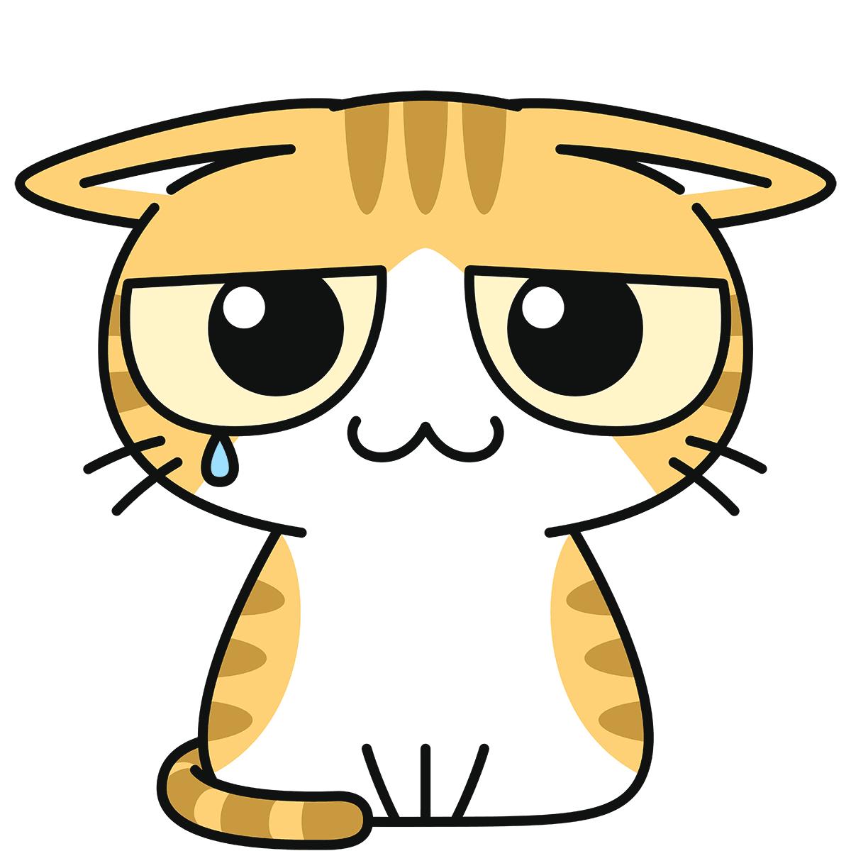 茶白猫(怯える)の無料イラスト