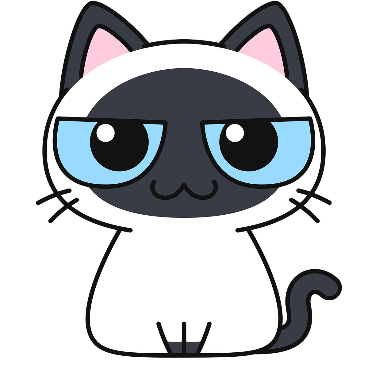 シャム柄猫の無料イラスト