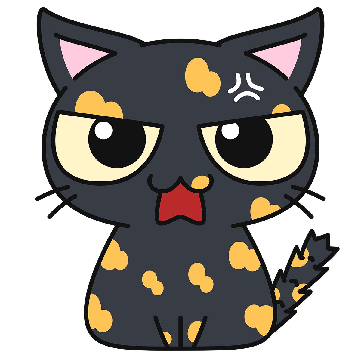 サビ猫(怒る)の無料イラスト