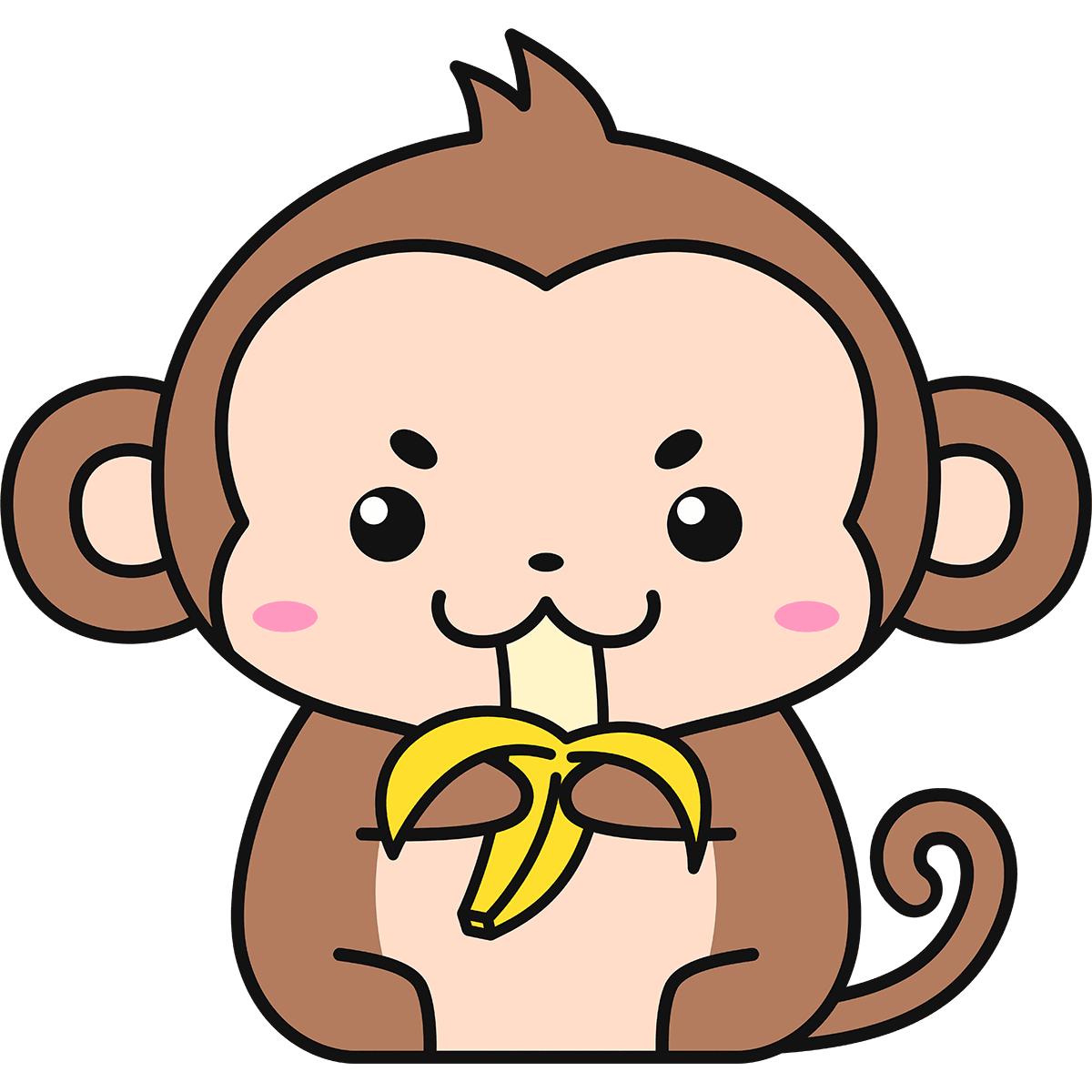 バナナを食べる猿の無料イラスト
