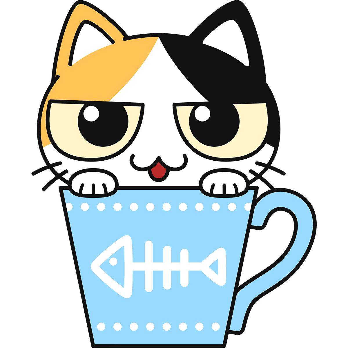 ティーカップ猫の無料イラスト