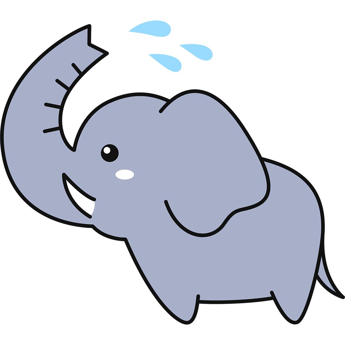 水浴びをするゾウの無料イラスト