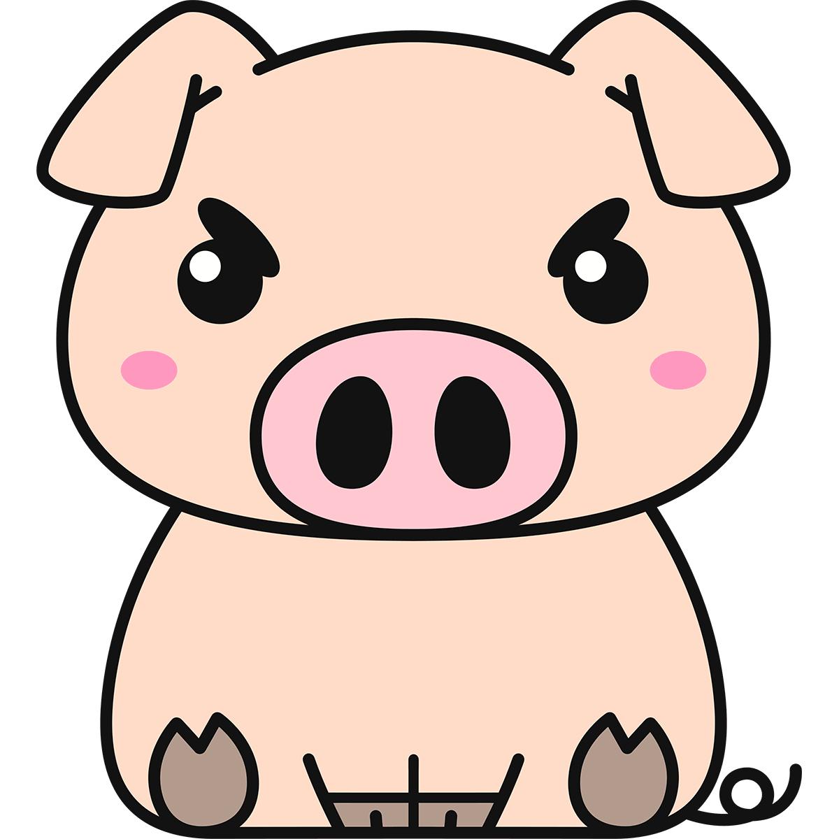 座る豚の無料イラスト