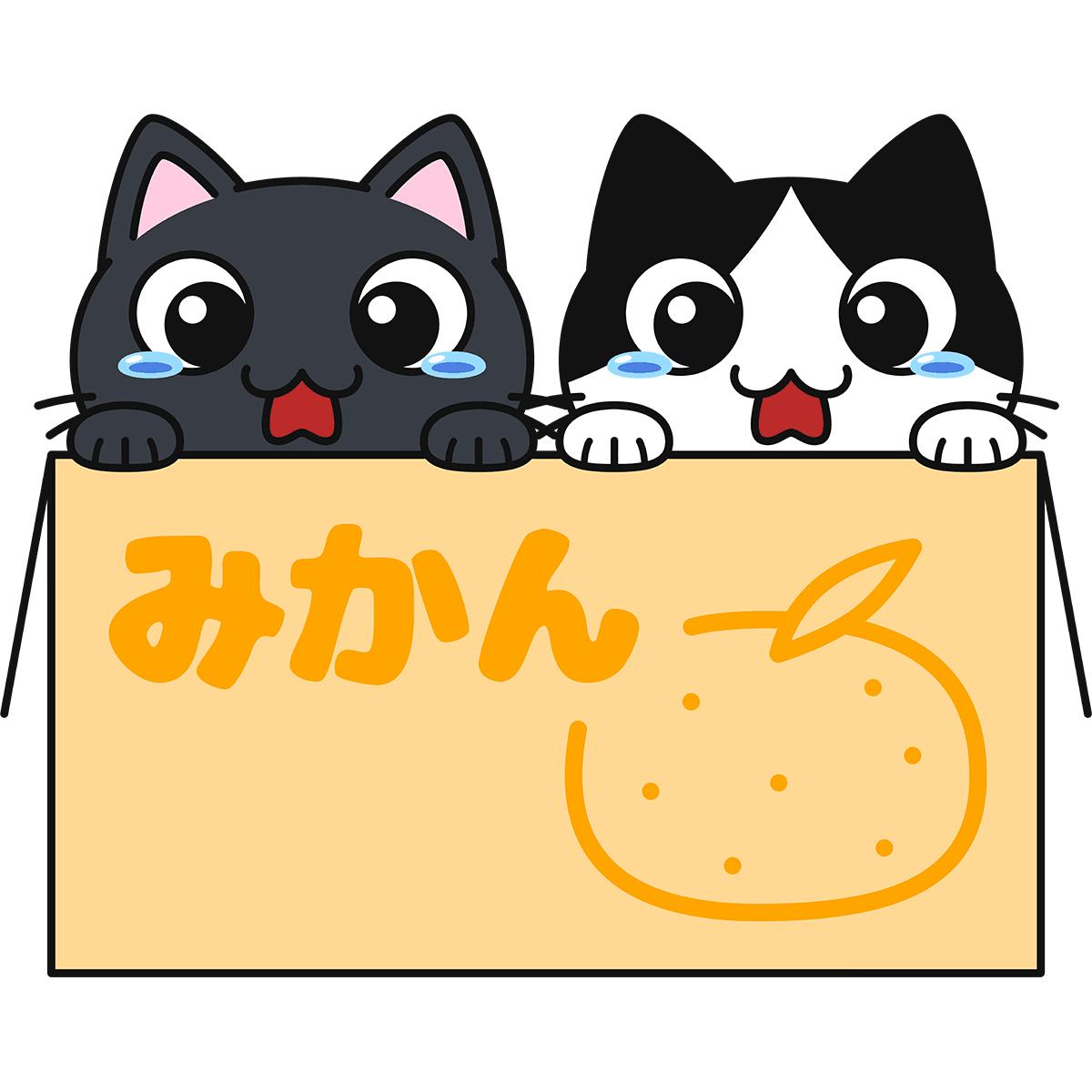 段ボールに入った子猫の無料イラスト