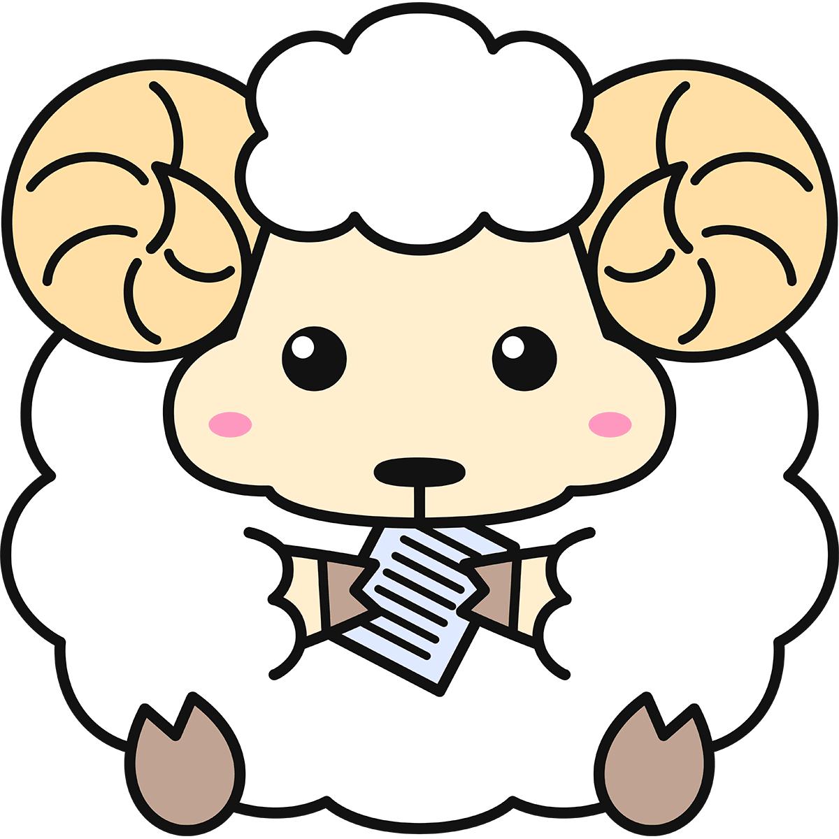 紙を食べる羊(メリノ)の無料イラスト