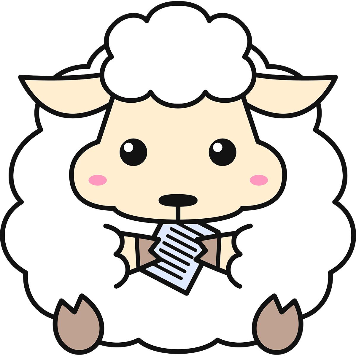 紙を食べる羊(コリデール)の無料イラスト