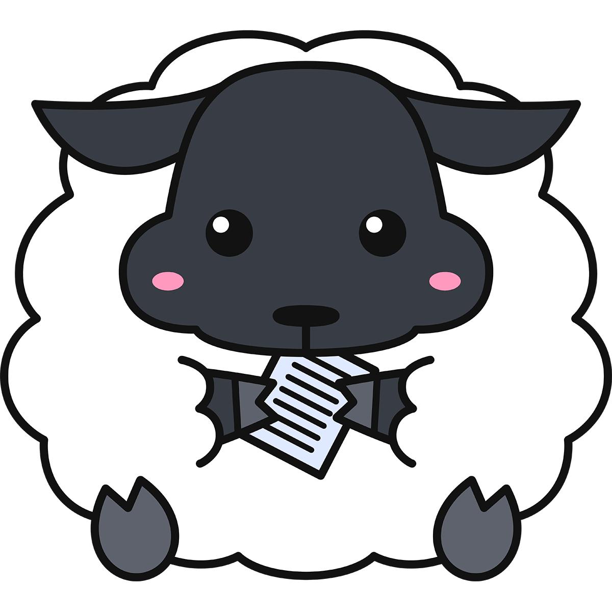 紙を食べる羊(サフォーク)の無料イラスト