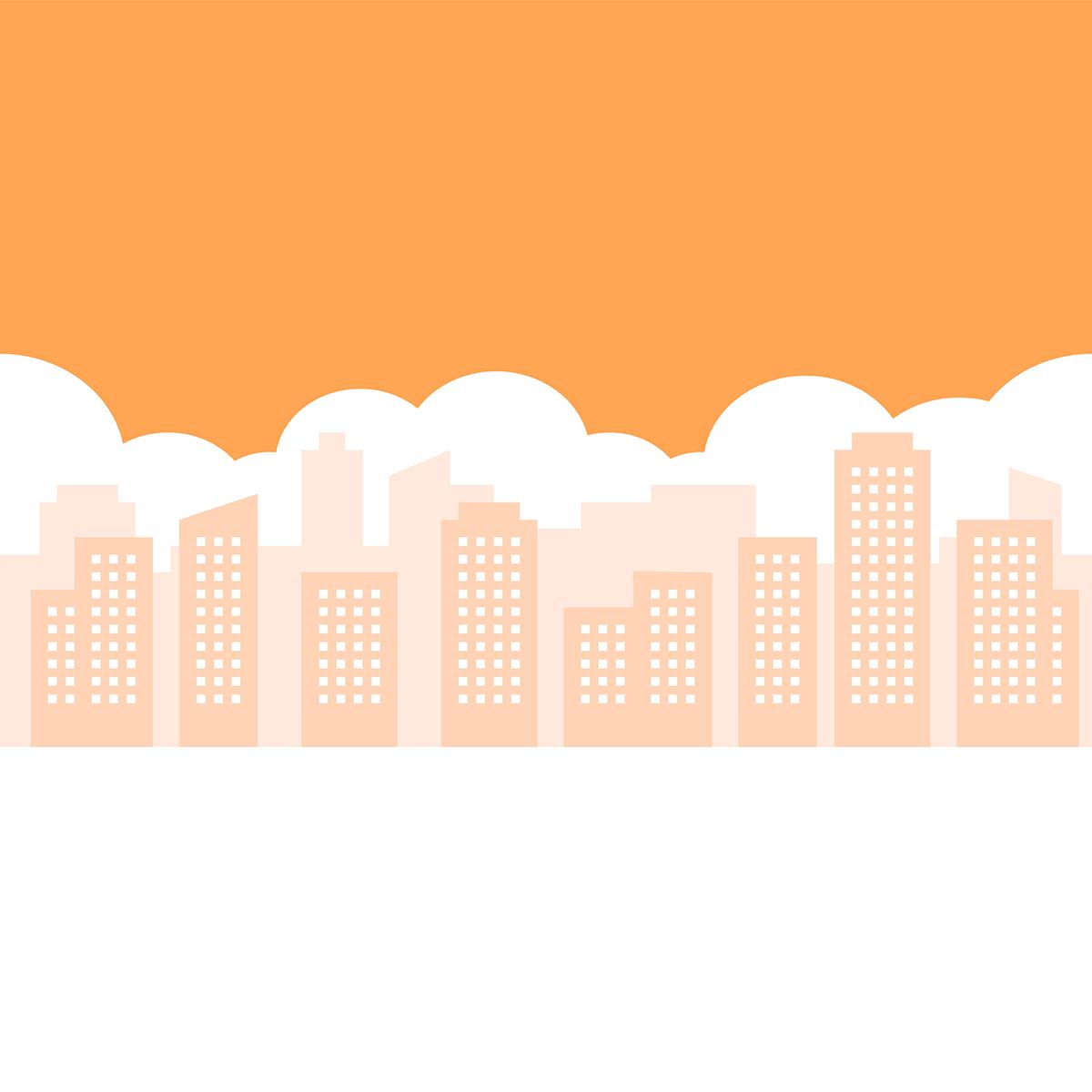 街の風景(夕方)の無料イラスト