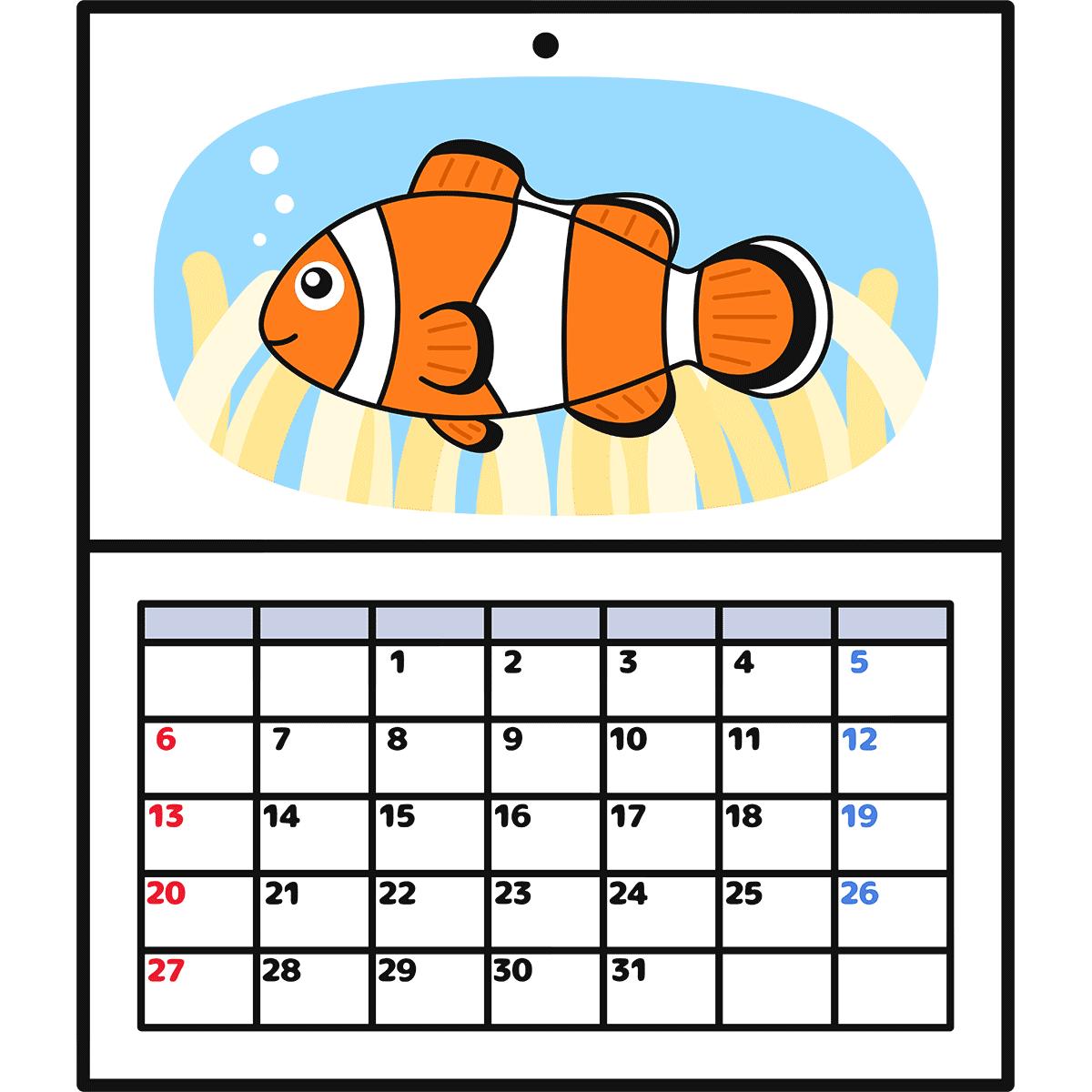 壁掛けカレンダーの無料イラスト