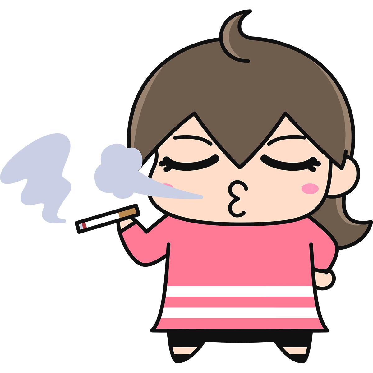 タバコを吸う女性の無料イラスト