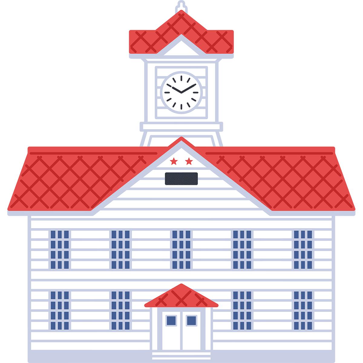 札幌市時計台の無料イラスト