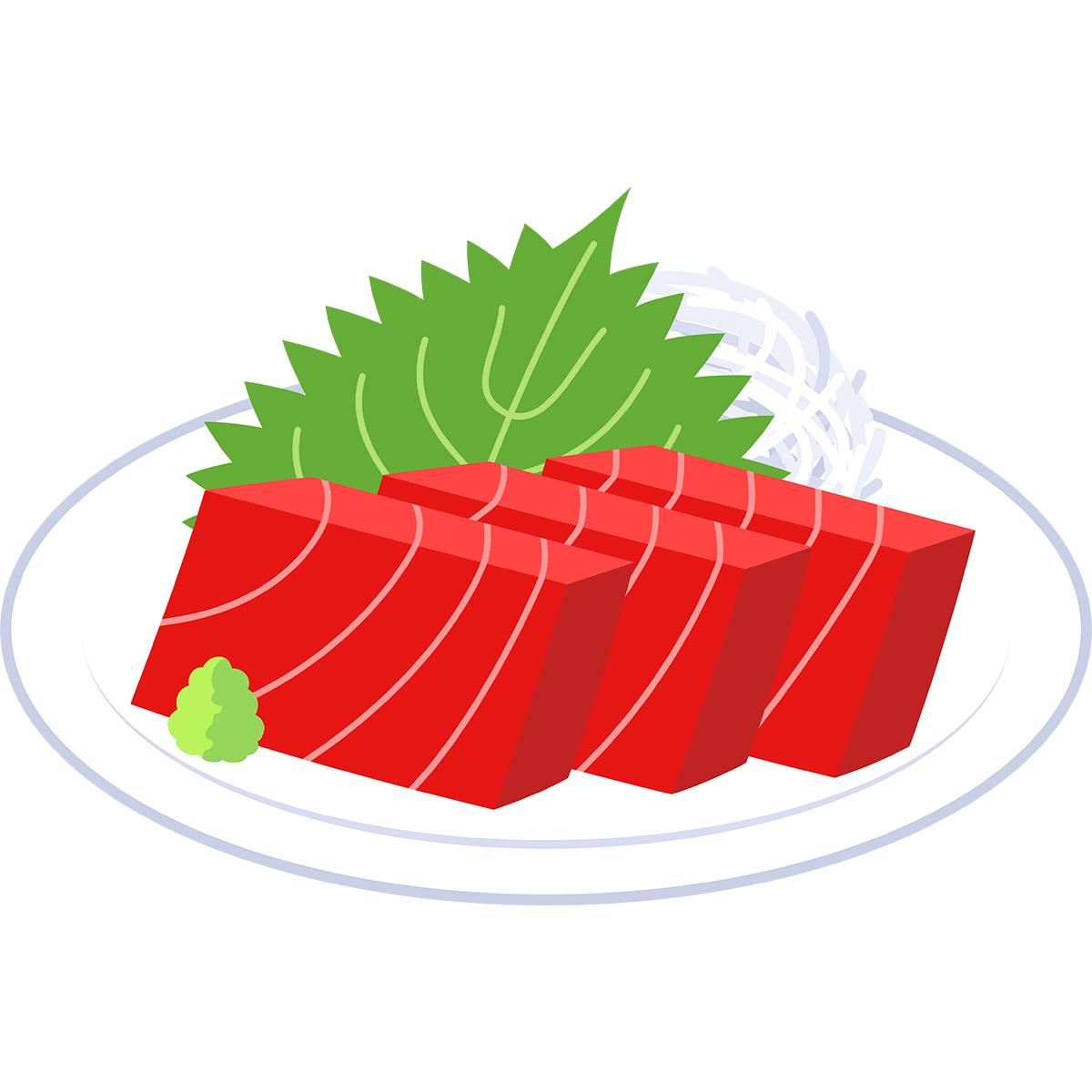 マグロ(赤身)の刺身の無料イラスト